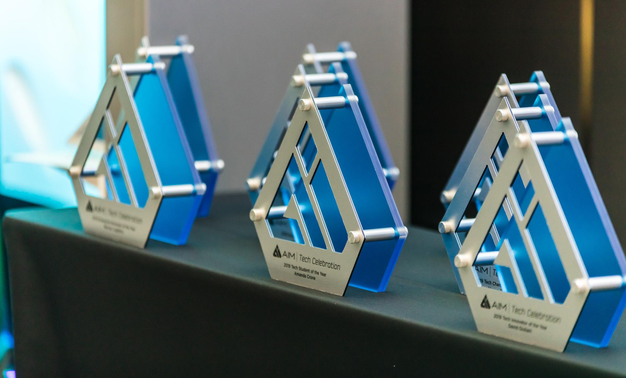 Awards wait for their presentation at the AIM Tech Celebration on Thursday, Nov. 14, 2019. (Courtesy AIM)