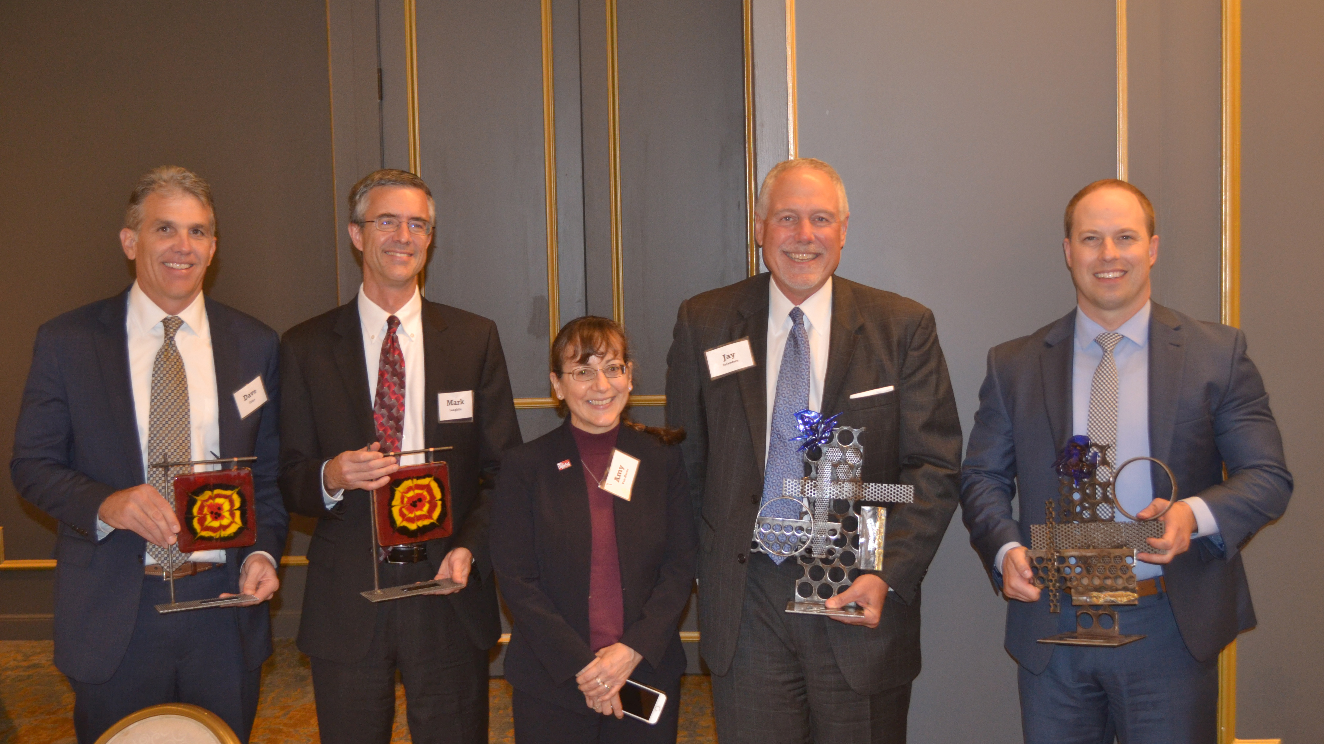 Recipients of the inaugural Equal Justice Awards, presented by Legal Aid of Nebraska, were, from left, David Cripe (Hauptman O'Brien), Mark Laughlin (Fraser Stryker), Amy Van Horne (Kutak Rock), Jay Selanders (Kutak Rock) and Jason L. Hansen (American National Bank). They received the awards during a reception at the Happy Hollow Country Club on Sept. 12, 2019. (Courtesy Legal Aid of Nebraska)