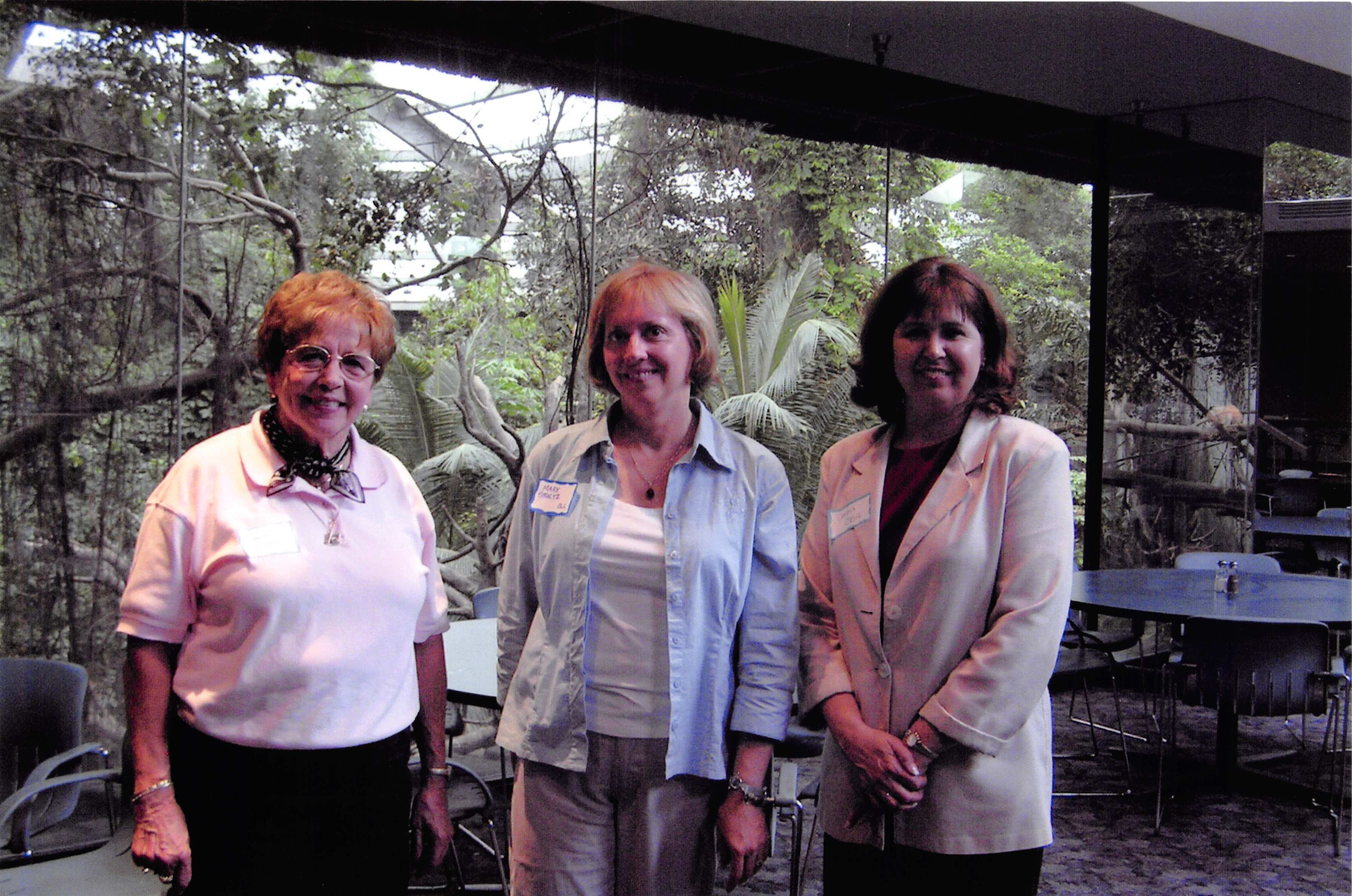 From left, Mardee Korinek, Mary Schultz and Donna Birkby pose for a photo at the Omaha Henry Doorly Zoo & Aquarium in 2006. (OBA)