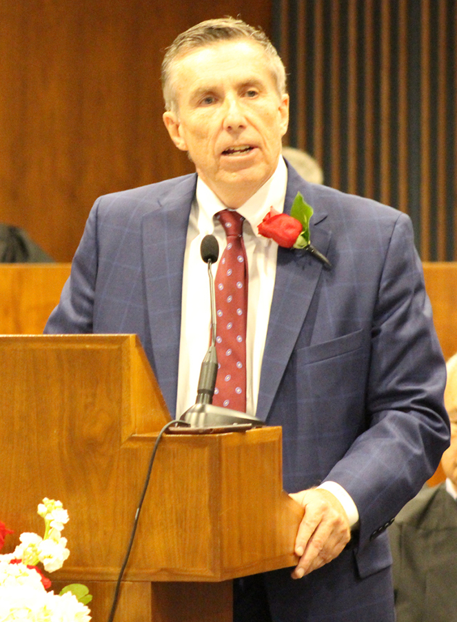 Stuart J. Dornan of Dornan Troia Howard Breitkreutz & Conway delivers an address during the Omaha Bar Association's annual Memorial Day Program in the legislative chamber of the Omaha-Douglas Civic Center on May 10, 2019. (Photo by Scott Stewart)
