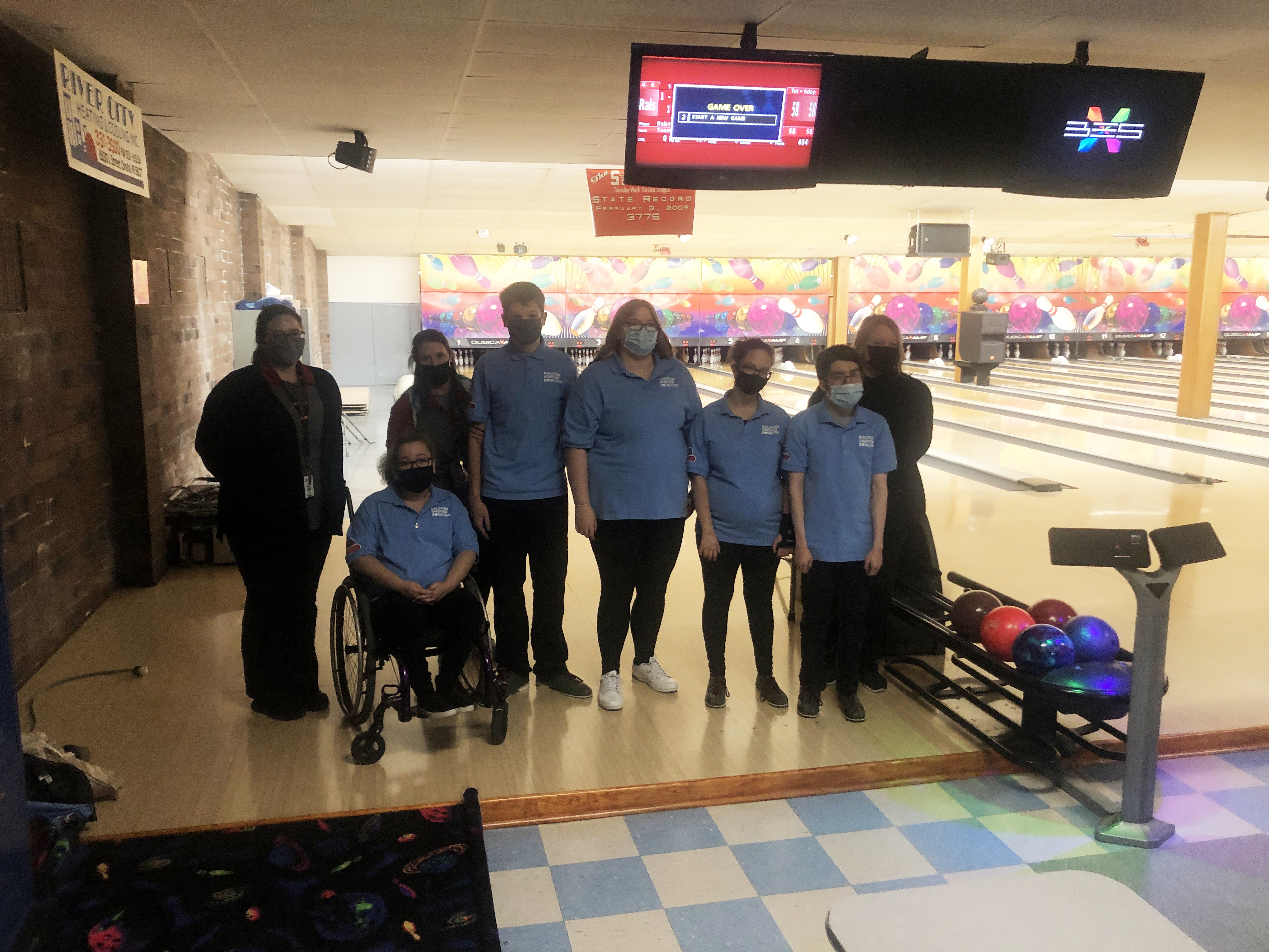 Pictured from left is Unified RPS staff sponsor Hannah Veskrna, Unified RPS staff sponsor Richelle Roth, Kendall Nothhorn, Trevor Petriw, Haileigh Geiszler, Brylee Johnson, Michael Cadena, and Unified RPS staff sponsor Susan Wagner. (Ralston Public Schools)