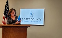 Tonee Gay, executive director of the Midlands Community Foundation, accepts the Nonprofit of the Year Award. (Sarpy County Chamber)