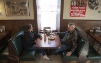 Lori, left, and Kevin Barber of Fairbury enjoy a dinner Friday, March 20, 2020, at the Pioneers Inn restaurant in Gilead. (Francis Gardler/Lincoln Journal Star via AP)